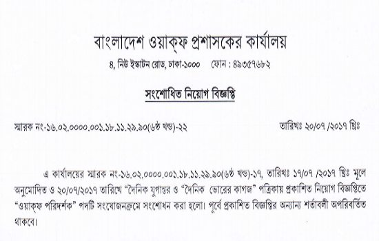 Bangladesh WAQFS Administrators Office Job Circular 2017