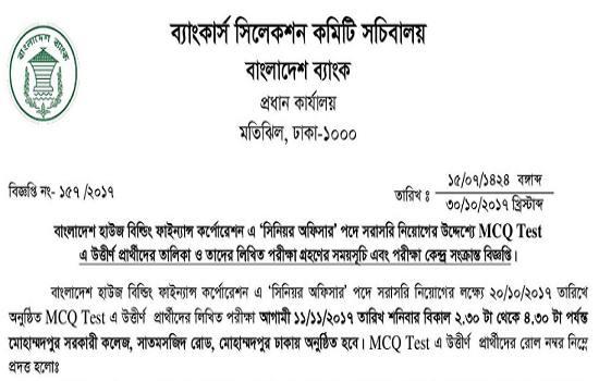 Bangladesh House Building Finance Corporation MCQ Exam Result 2017